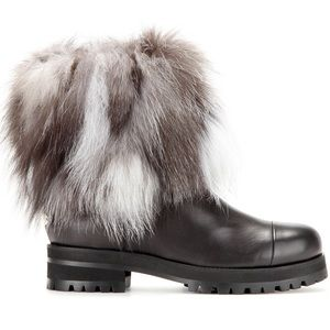 Jimmy Choo Fur and Leather Boots Size 37.5